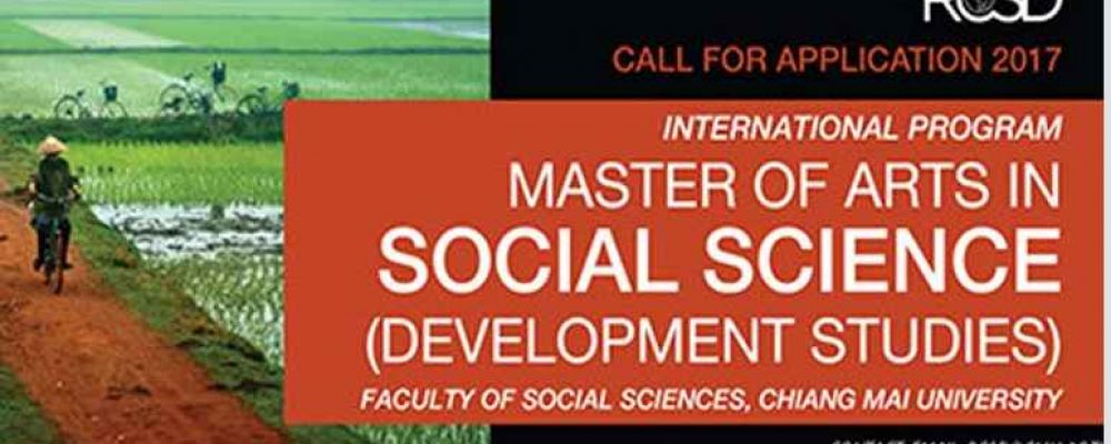 Call for applications for Master of Arts in Social Sciences (Development Studies), Chiang Mai University, Thailand