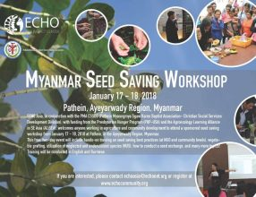 Myanmar seed saving workshop, January 17 – 18, 2018, Pathein, Ayeyarwady Region